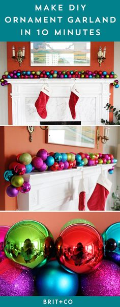 Bookmark this holiday tutorial to make Christmas ornament garland in 10 minutes.