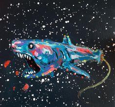 """""""SpaceShark""""  20x20 cm.  Acrylic on canvas  2015"""