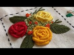 Basic Embroidery Stitches, Hand Embroidery Videos, Hand Embroidery Designs, Cross Stitch Embroidery, Embroidery Patterns, Brazilian Embroidery, Happy Flowers, Handmade Flowers, Fabric Flowers