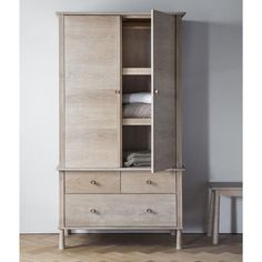 Wycombe Wardrobe 2 Shelves.  Built using the finest solid Oak and veneers, the contemporary Wycombe collection combines good looks and functionality. With its c
