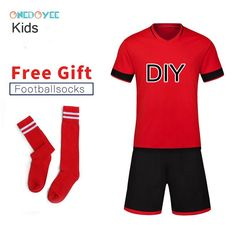 ONEDOYEE Boys Football Jerseys Soccer Uniform Kids Football Kit Training  Suits Jersey Customize Breathable Children Soccer Sets 1b516dc0b