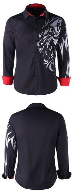 1bf1a0027ec Graphic Contrast Trim Shirt