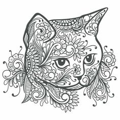 Cat Coloring Page, Animal Coloring Pages, Coloring Book Pages, Coloring Pages For Grown Ups, Printable Adult Coloring Pages, Zentangle Drawings, Cat Colors, Mandala Coloring, Cat Tattoo