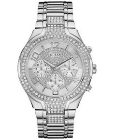 Guess Women's Crystal Accent Stainless Steel Bracelet Watch 44mm U0628L1
