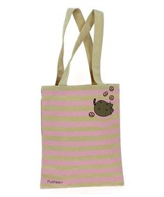 Khaki & Pink Stripe Pusheen Tote Bag #zulily #zulilyfinds