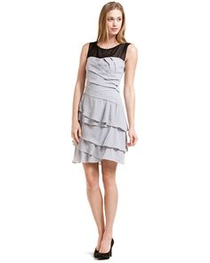 Max & Cleo - Silver Ruffle Tiered Dress