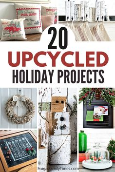 You can have beautiful holiday decor - on a budget - with these creative upcycled Christmas decorations ideas! Included are pallet Christmas trees, rustic snowmen, upcycled stocking hangers, Christmas scenes, lamps, teacup ornament, Christmas card holders, snow globes and more! Pallet Christmas Tree, Christmas Books, All Things Christmas, Christmas Diy, Christmas Scenes, Holiday Crafts, Christmas Decorations, Holiday Decor, Rustic Christmas