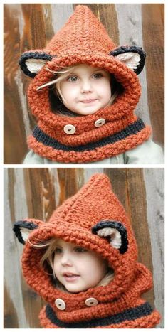 Knitted Hat and Cowl Pattern Lots of The Best Ideas is part of Knitting and Crochet Scarves Hooded Cowl - You will love this collection of knitted hat and cowl pattern ideas and you are guaranteed to be spoilt for choice Check out all the ideas now Crochet Hooded Cowl, Crochet Kids Scarf, Crochet Fox, Knit Cowl, Crochet For Kids, Hooded Scarf, Crochet Cowls, Crochet Granny, Crochet Scarves