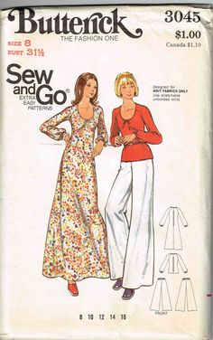 Close Fitting Maxi Dress Scoop Neckline, Top and Palazzo Pants Sewing Pattern Butterick 3045  by PeoplePackages