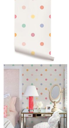 Polka Dot Pink Peel Stick Wallpaper  - Wall Sticker Outlet