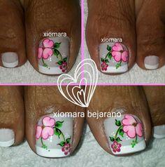 #unasdecoradas Cute Toe Nails, Toe Nail Art, Pretty Nails, Cute Pedicures, Pedicure Nails, Pedicure Ideas, New Nail Art Design, Pink Nail Designs, French Pedicure