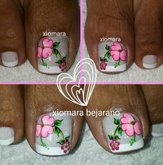 #unasdecoradas Cute Toe Nails, Toe Nail Art, Pretty Nails, Acrylic Nails, Cute Pedicures, Pedicure Nails, Pedicure Ideas, New Nail Art Design, Pink Nail Designs
