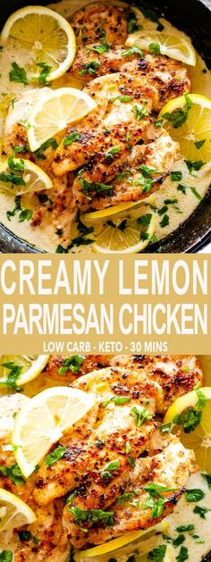 Creamy Lemon Parmesan Chicken - An easy, bright, and creamy one-pan recipe for chicken breasts cooked in a velvety lemon garlic sauce. This Creamy Lemon Parmesan Chicken is a company worthy dinner that you can have any day of the week. #chickenrecipes #chickenbreasts #ketorecipes #lowcarb #lemons via @diethood