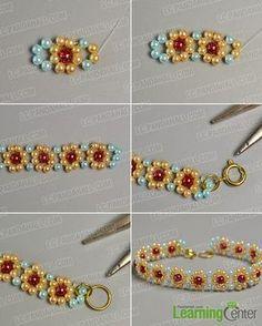 make the second part of the yellow pearl bead flower bracelet - Bracelets Jewelry Beaded Bracelets Tutorial, Beaded Bracelet Patterns, Embroidery Bracelets, Seed Bead Patterns, Bracelet Designs, Flower Patterns, Pulseras Kandi, Jewelry Crafts, Handmade Jewelry