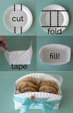A DIY Cookie holder - bake or buy some cookies - cut a paper plate as shown and put a colourful ribbon around it - great gift idea - its the thought that counts. #ChristmasOnABudget