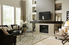 Simple and lovely living space with grey feature wall