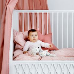 CAM CAM Bedding Peacock Old Rose - 2 Sizes - Now available on Designstuff.com.au #camcam #nursery #bedding #babyroom #designstuff