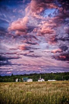 Cotton Candy Sunset in The Countryside Village of  Talmadge, Maine