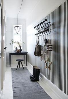 Eames Hang it All Striped Wallpaper Hallway, Striped Hallway, Hall Wallpaper, Black And White Hallway, Black And White Wallpaper, Porch Decorating, Interior Decorating, Interior Design, Nordic Interior