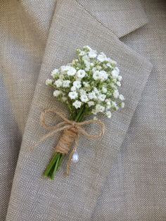 Rustic Boutonniere Baby's Breath by BellasBloomStudio on Etsy