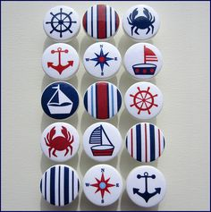 Nautical Drawer Knobs Anchor Knobs Red Navy Sailboat