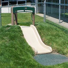 Our Hill Slide for the natural playground blends the classic playground slide into a natural play environment. Children will have fun running and climbing up the side of a hill and then zooming down the slide. Because the Hill Slide is installed into a hill, the children playing on the slide are always close to the ground and no fall surface is needed.  Whether you have a flat area and want to build a hill or you have an existing hill, we can provide you with the right slide to suit your…