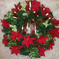Holiday Christmas Evergreen Wreath-Red Poinsettia and PineCones #OneofAKindFloralDesignGifts