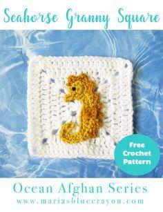 Seahorse Granny Square | Seahorse Applique | Ocean Afghan Series | Free Crochet Pattern