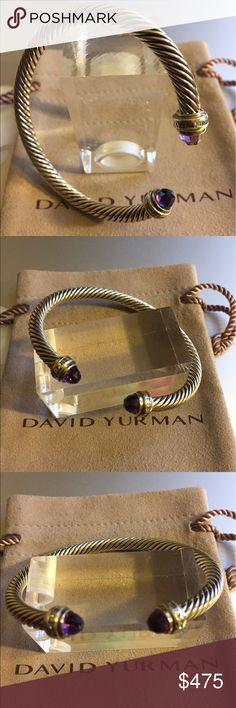 David Yurman Purple Amethyst Bracelet 5mm 925 David Yurman Authentic Purple Amethyst 5mm Bracelet in Sterling Silver with Diamonds size 63/4 in or Med. Like New. Comes in DY pouch. David Yurman Jewelry Bracelets