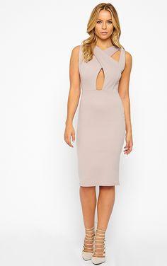 Gracen Mauve Cross Front & Back Midi Dress