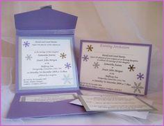 Snowflake pocketfold and A6 invitation in purple