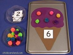 Letter I - Ice Cream Cone Pom Pom Counting . fun for a math centers and fine motor development. Numbers Preschool, Learning Numbers, Math Numbers, Preschool Learning, Kindergarten Classroom, Teaching Math, Preschool Activities, Decomposing Numbers, Numbers Kindergarten