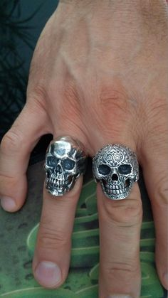 /'Freedom or Death/' Personality Skull Ring Men 925 Silver Plated Diamond Jewelry
