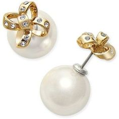 kate spade new york Gold-Tone Imitation Pearl and Pave Bow Reversible Front and Back Earrings