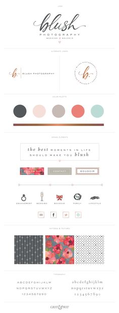 Brand Reveal // Blush Photography // designed by Grit & Wit // branding Logo Branding, Graphic Design Branding, Identity Design, Typography Design, Brand Identity, Lettering, Design Packaging, Visual Identity, Site Web Design