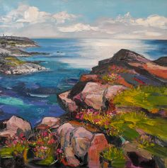 Sea Thrift at Carn by Judith Bridgland part of Cornish Landscape exhibition