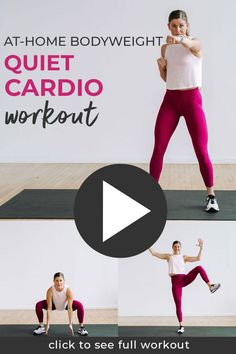 No equipment and no jumping - this 10 Minute Cardio Workout at home is for ALL fitness levels! It's also great as a pregnancy workout or postpartum workout! Beginner Cardio Workout, Low Impact Cardio Workout, Beginners Cardio, Leg Day Workouts, Cardio Workout At Home, Workout Videos, At Home Workouts, Exercise Videos, Body Workouts