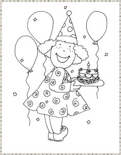 * Feest! Colouring Pages, Coloring Sheets, Girl Birthday, Birthday Cards, Birthday Presents, Crayon Drawings, Mini Quilts, Digi Stamps, Fun Crafts