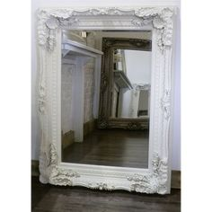 Chelsea White Carved Ornate Rectangle Antique Wall Mirror 48 X for sale online Beaded Mirror, Ornate Mirror, Wood Mirror, Mirror Mirror, Extra Large Mirrors, Shabby Chic Mirror, Circular Mirror, Chicano, Wood Design