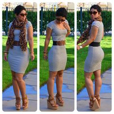 mimi g.: OOTD: #DIY Striped Dress + Steve Madden Wedges