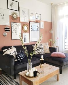 Living room interior, home living room, living room decor, orange walls, pi New Living Room, Home And Living, Living Room Decor, Bedroom Decor, Wall Decor, Pared Color Salmon, Salmon Colour, Dark Couch, Piece A Vivre