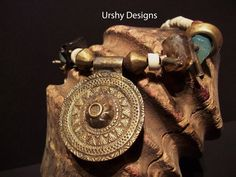 Gemstone Talismanic URSHY DESIGNS creation, Artisan designer, Bespoke unique necklace.  Old bronze pendant, rings. East African .  OOAK by Timbuktugallery on Etsy