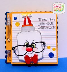 Teacher Thank You Gift-Using Kawaii Nerdy School and Post It Note Holder Thank You Teacher Gifts, Teacher Christmas Gifts, Teacher Cards, Peachy Keen Stamps, Post It Note Holders, Staff Appreciation, Cricut Cards, Copics, Scrapbook Cards