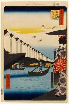 (Japan) Edo view : Yoroi ferry Koami-cho, from 100 famous views of Edo by Utagawa Hiroshige Hokusai, Mont Fuji, Art Asiatique, Print Place, Art Japonais, Eiffel, Japanese Painting, Japanese Prints, Japan Art