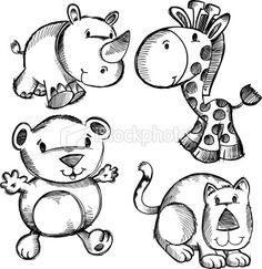 Doodle Esboço Safari Animals Royalty Free ilustrações vetoriais