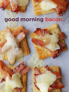 Bacon covered in sweet maple syrup with aged white cheddar all on a Triscuit. We call it bacosyrucheescuit. You call it good morning. Triscuit. Made for More.
