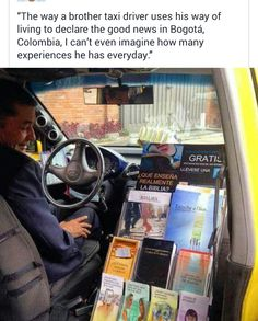shares: The way a brother taxi driver uses his way of living to declare the good news in Bogotá Colombia I cant even imagine how many experiences he has everyday. Deaf Bible, Bible Truth, Jehovah S Witnesses, Jehovah Witness, Public Witnessing, Jw Humor, Jw News, Family World, Kingdom Hall