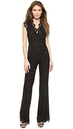 Rachel Zoe Women's Reese V Neck Lace Jumpsuit in Black - http://www.womansindex.com/rachel-zoe-womens-reese-v-neck-lace-jumpsuit-in-black/