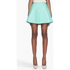 BALMAIN Mint Green Pleated Leather Skirt ($915) ❤ liked on Polyvore featuring skirts, bottoms, balmain, mint pleated skirt, leather skirt, zipper skirt, mint green pleated skirt and flare skirt