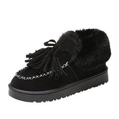 49fa22720bf29c Womens Snow Shoes Mchoice Fashion Women Boots Flat Ankle Tassel Up Fur  Lined Winter Warm Snow